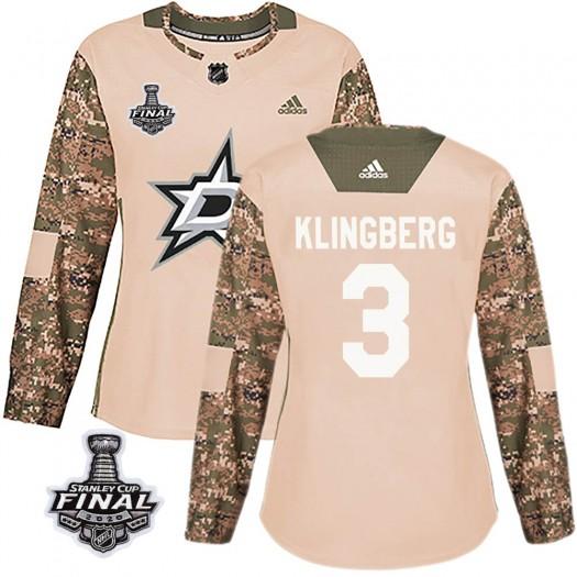 John Klingberg Dallas Stars Women's Adidas Authentic Camo Veterans Day Practice 2020 Stanley Cup Final Bound Jersey
