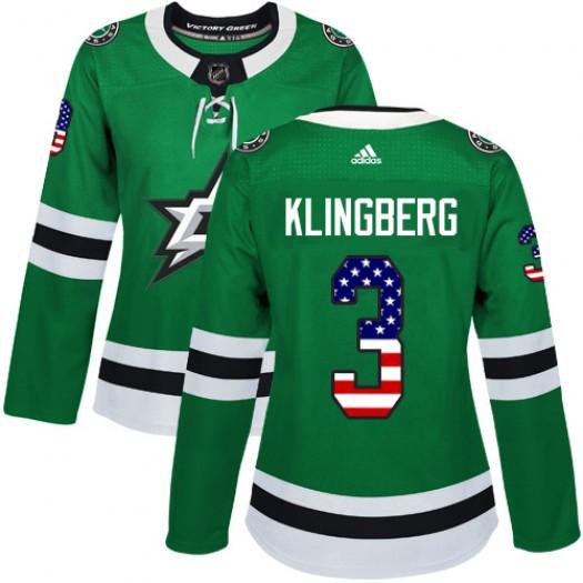 John Klingberg Dallas Stars Women's Adidas Authentic Green USA Flag Fashion Jersey