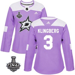 John Klingberg Dallas Stars Women's Adidas Authentic Purple Fights Cancer Practice 2020 Stanley Cup Final Bound Jersey