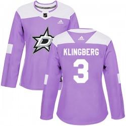John Klingberg Dallas Stars Women's Adidas Authentic Purple Fights Cancer Practice Jersey