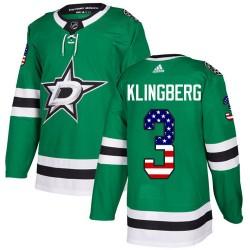 John Klingberg Dallas Stars Youth Adidas Authentic Green USA Flag Fashion Jersey