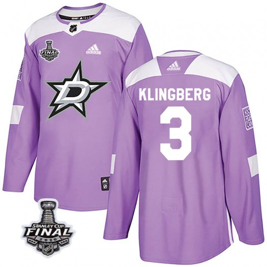 John Klingberg Dallas Stars Youth Adidas Authentic Purple Fights Cancer Practice 2020 Stanley Cup Final Bound Jersey