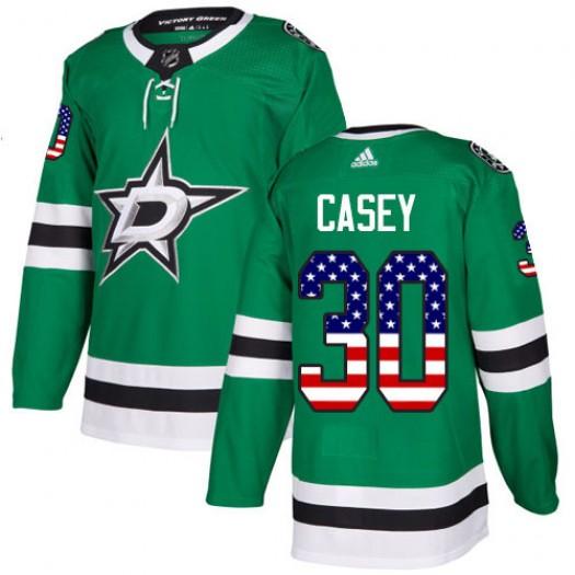 Jon Casey Dallas Stars Men's Adidas Authentic Green USA Flag Fashion Jersey