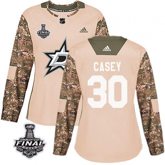 Jon Casey Dallas Stars Women's Adidas Authentic Camo Veterans Day Practice 2020 Stanley Cup Final Bound Jersey