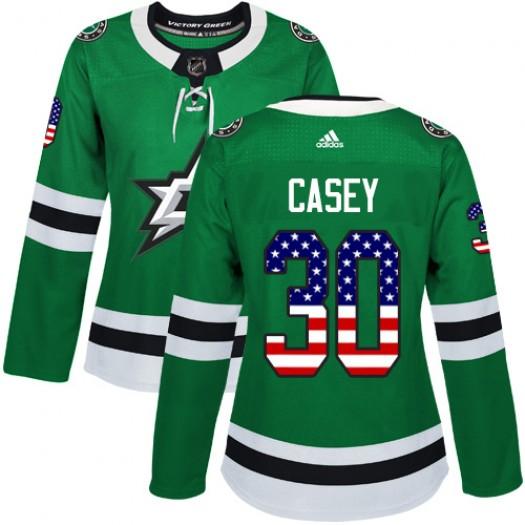 Jon Casey Dallas Stars Women's Adidas Authentic Green USA Flag Fashion Jersey
