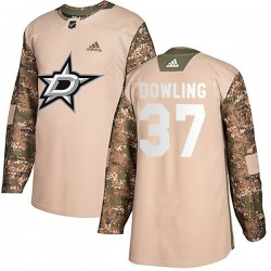 Justin Dowling Dallas Stars Men's Adidas Authentic Camo Veterans Day Practice Jersey