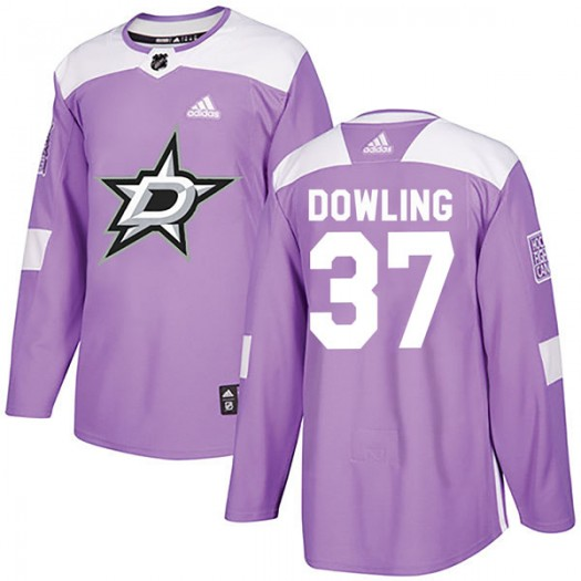 Justin Dowling Dallas Stars Men's Adidas Authentic Purple Fights Cancer Practice Jersey