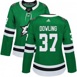 Justin Dowling Dallas Stars Women's Adidas Authentic Green Home Jersey