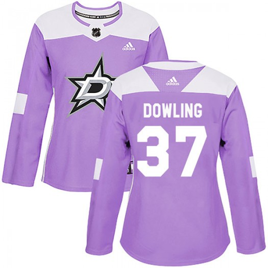 Justin Dowling Dallas Stars Women's Adidas Authentic Purple Fights Cancer Practice Jersey