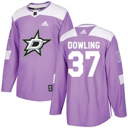 Justin Dowling Dallas Stars Youth Adidas Authentic Purple Fights Cancer Practice Jersey
