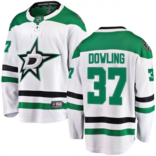 Justin Dowling Dallas Stars Youth Fanatics Branded White Breakaway Away Jersey