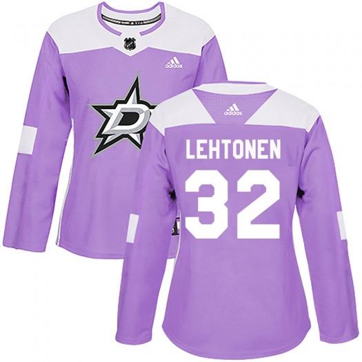 Kari Lehtonen Dallas Stars Women's Adidas Authentic Purple Fights Cancer Practice Jersey