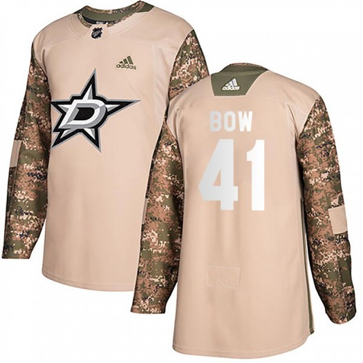 Landon Bow Dallas Stars Men's Adidas Authentic Camo Veterans Day Practice Jersey