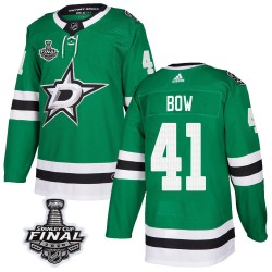 Landon Bow Dallas Stars Men's Adidas Authentic Green Home 2020 Stanley Cup Final Bound Jersey