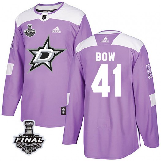 Landon Bow Dallas Stars Men's Adidas Authentic Purple Fights Cancer Practice 2020 Stanley Cup Final Bound Jersey