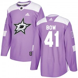 Landon Bow Dallas Stars Men's Adidas Authentic Purple Fights Cancer Practice Jersey