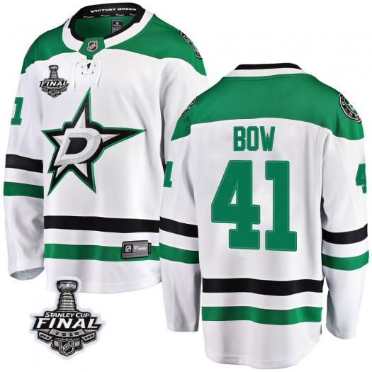 Landon Bow Dallas Stars Men's Fanatics Branded White Breakaway Away 2020 Stanley Cup Final Bound Jersey