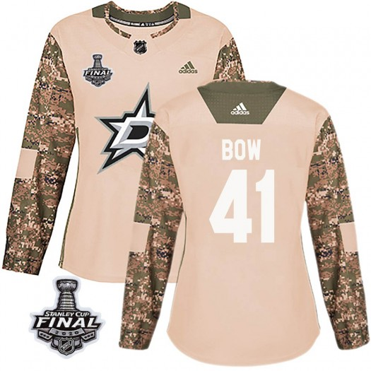 Landon Bow Dallas Stars Women's Adidas Authentic Camo Veterans Day Practice 2020 Stanley Cup Final Bound Jersey