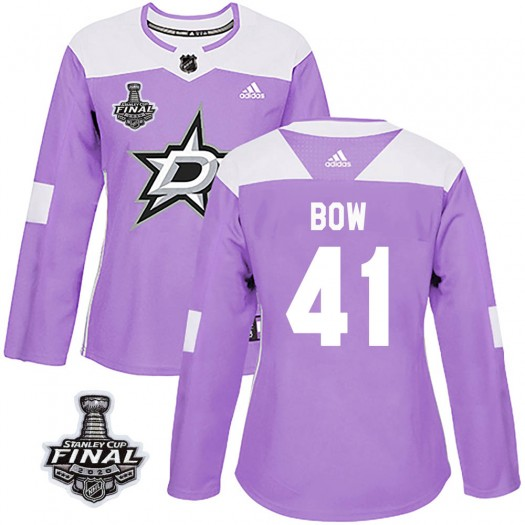 Landon Bow Dallas Stars Women's Adidas Authentic Purple Fights Cancer Practice 2020 Stanley Cup Final Bound Jersey