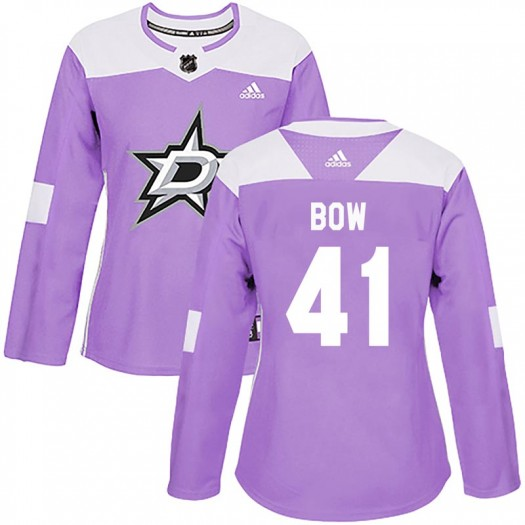 Landon Bow Dallas Stars Women's Adidas Authentic Purple Fights Cancer Practice Jersey