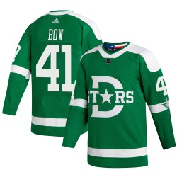 Landon Bow Dallas Stars Youth Adidas Authentic Green 2020 Winter Classic Jersey
