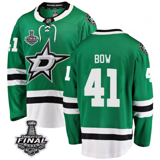 Landon Bow Dallas Stars Youth Fanatics Branded Green Breakaway Home 2020 Stanley Cup Final Bound Jersey