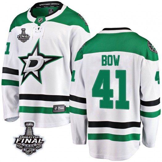 Landon Bow Dallas Stars Youth Fanatics Branded White Breakaway Away 2020 Stanley Cup Final Bound Jersey