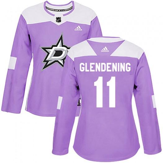 Luke Glendening Dallas Stars Women's Adidas Authentic Purple Fights Cancer Practice Jersey