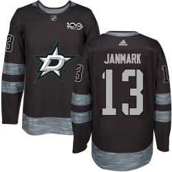 Mattias Janmark Dallas Stars Men's Adidas Authentic Black 1917-2017 100th Anniversary Jersey