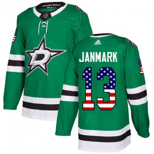 Mattias Janmark Dallas Stars Men's Adidas Authentic Green USA Flag Fashion Jersey