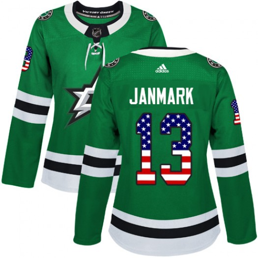 Mattias Janmark Dallas Stars Women's Adidas Authentic Green USA Flag Fashion Jersey