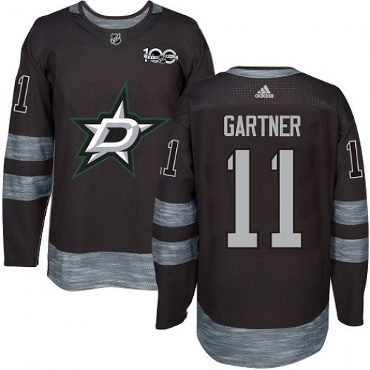 Mike Gartner Dallas Stars Men's Adidas Authentic Black 1917-2017 100th Anniversary Jersey