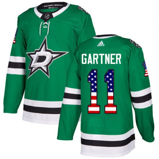 Mike Gartner Dallas Stars Youth Adidas Authentic Green USA Flag Fashion Jersey
