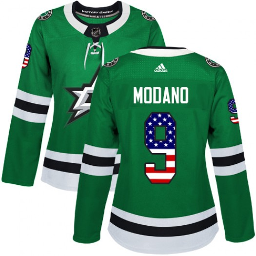 Mike Modano Dallas Stars Women's Adidas Authentic Green USA Flag Fashion Jersey