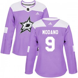 Mike Modano Dallas Stars Women's Adidas Authentic Purple Fights Cancer Practice Jersey