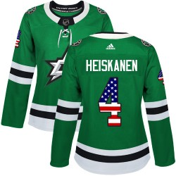Miro Heiskanen Dallas Stars Women's Adidas Authentic Green USA Flag Fashion Jersey