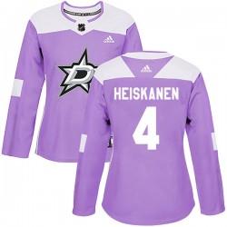 Miro Heiskanen Dallas Stars Women's Adidas Authentic Purple Fights Cancer Practice Jersey