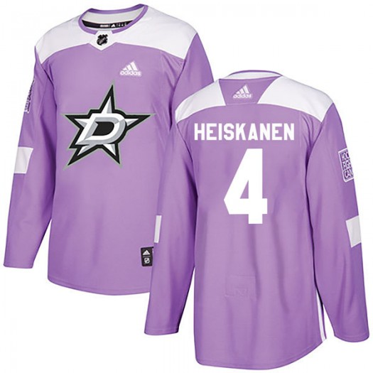 Miro Heiskanen Dallas Stars Youth Adidas Authentic Purple Fights Cancer Practice Jersey
