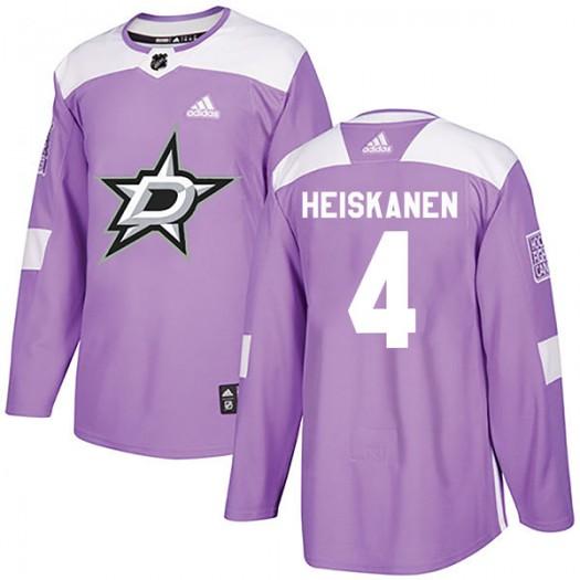 Miro Heiskanen Dallas Stars Youth Adidas Authentic Purple Fights Cancer Practice Jersey