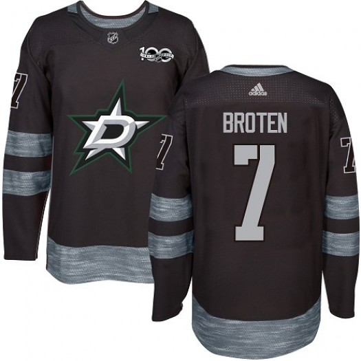 Neal Broten Dallas Stars Men's Adidas Authentic Black 1917-2017 100th Anniversary Jersey