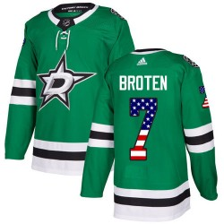Neal Broten Dallas Stars Men's Adidas Authentic Green USA Flag Fashion Jersey