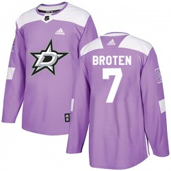 Neal Broten Dallas Stars Men's Adidas Authentic Purple Fights Cancer Practice Jersey