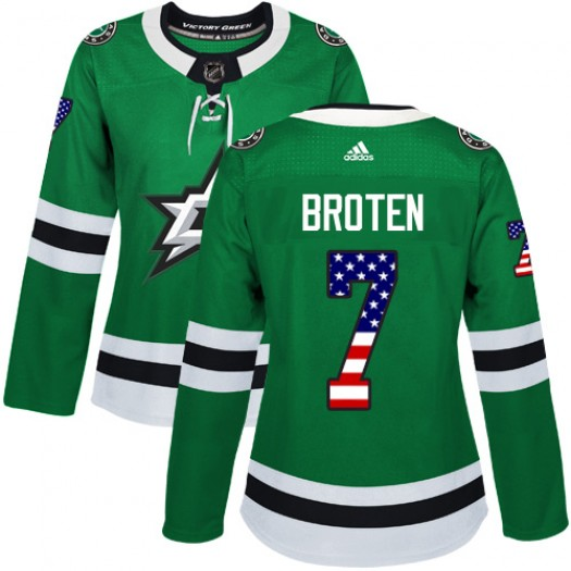 Neal Broten Dallas Stars Women's Adidas Authentic Green USA Flag Fashion Jersey