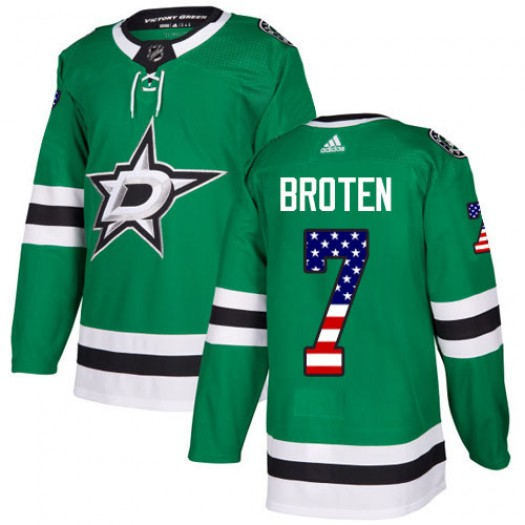 Neal Broten Dallas Stars Youth Adidas Authentic Green USA Flag Fashion Jersey