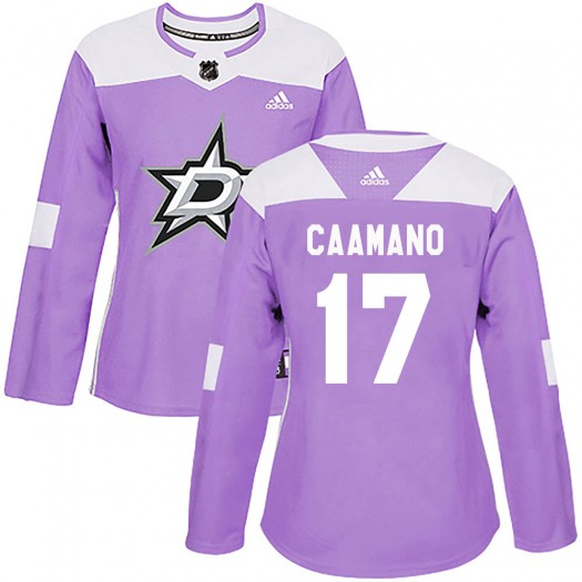 Nick Caamano Dallas Stars Women's Adidas Authentic Purple Fights Cancer Practice Jersey