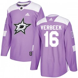 Pat Verbeek Dallas Stars Youth Adidas Authentic Purple Fights Cancer Practice Jersey