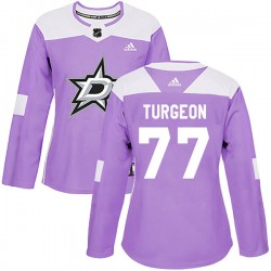 Pierre Turgeon Dallas Stars Women's Adidas Authentic Purple Fights Cancer Practice Jersey