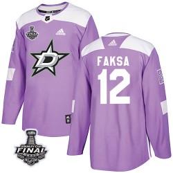 Radek Faksa Dallas Stars Men's Adidas Authentic Purple Fights Cancer Practice 2020 Stanley Cup Final Bound Jersey
