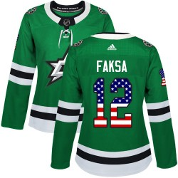 Radek Faksa Dallas Stars Women's Adidas Authentic Green USA Flag Fashion Jersey