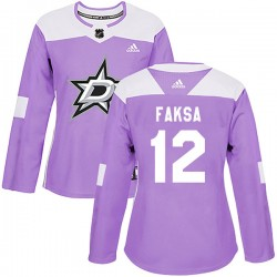 Radek Faksa Dallas Stars Women's Adidas Authentic Purple Fights Cancer Practice Jersey